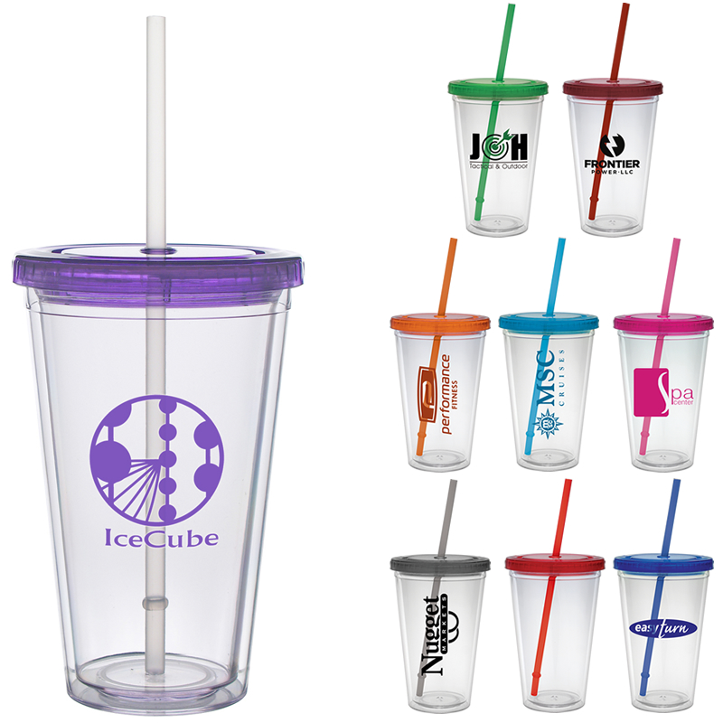 Promotional 16 Oz Color Lid Classic Straw Carnival Cup