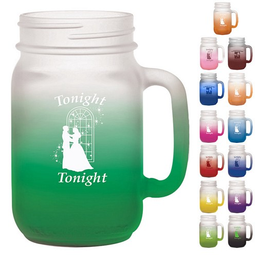 Promotional 16 oz. Glass Handle Mason Jar with Custom Frost Glow