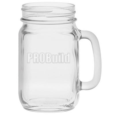 Promotional 16 oz. Glass Handle Mason Jar with Deep Etching