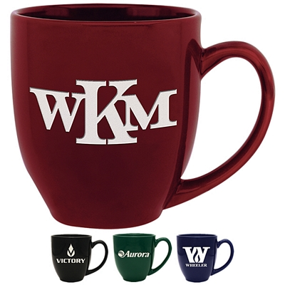 Promotional 14 oz. Solid Bistro Coffee Mug with Deep Etching