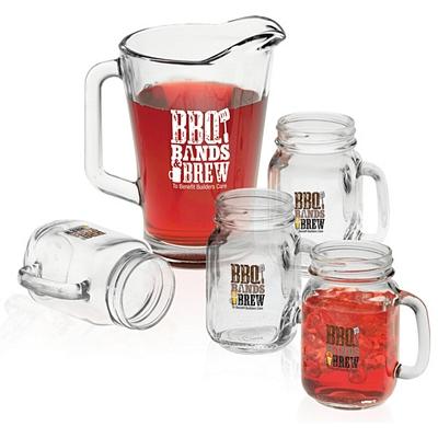 Promotional 60 oz. Pitcher & 16 oz. Glass Mason Jar Set