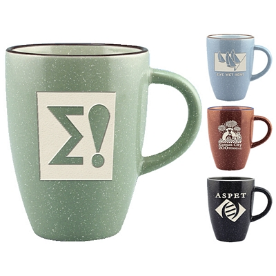 Promotional 13 oz. Speckled Taza Coffee Mug with Deep Etching