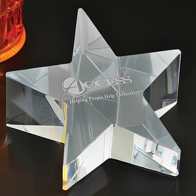 Promotional Rising Star Glass Paperweight