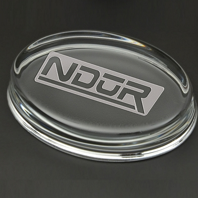 Promotional 4-inch Oval Paperweight with Deep Etching