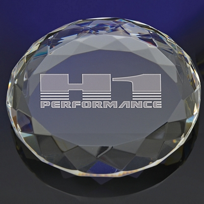 Promotional Deep Etched Faceted Circle Paperweight