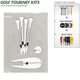 Promotional Golf Tourney Pack 8: 4 Plus Tees 1 Divot 1 Marker