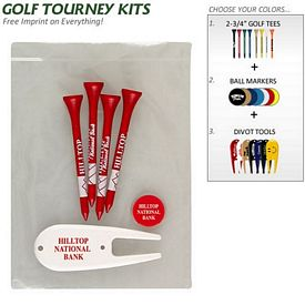 Customized Golf Tourney Pack 9: 4 Tall Tees 1 Marker 1 Divot