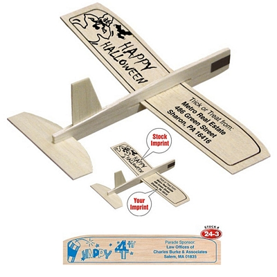 """Promotional 8"""" Balsa Wooden Toy Airplane Glider Happy 4th of July"""