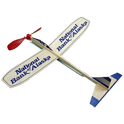 """Promotional 12"""" Balsa Wooden Toy Airplane Glider with Propeller"""