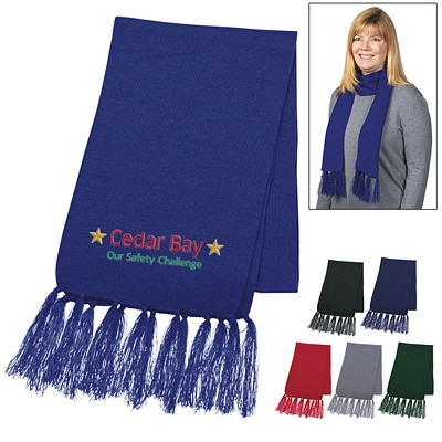 Promotional Knit Scarf With Tassels - CLOSEOUT ITEM