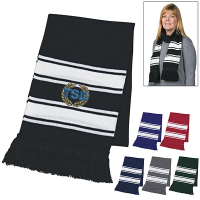 Custom Two-Tone Fringe Knit Scarf