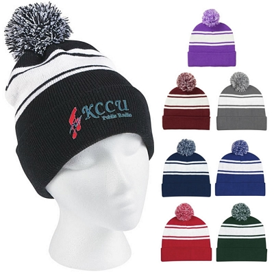 Custom Two-Tone Knit Pom Cuff Beanie Cap