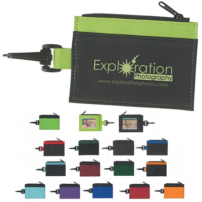 Promotional Zipper and Clip ID Holder