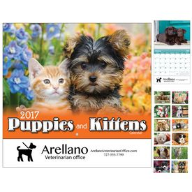 Custom Puppies Kittens Wall Calendar - Stapled