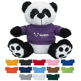 Promotional 8-1-2 Plush Big Paw Panda With Shirt