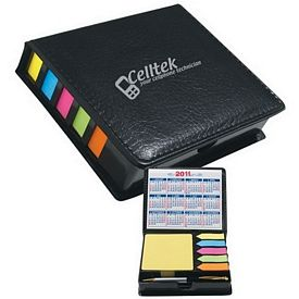 Promotional Square Leather Look Case Of Sticky Notes With Calendar And Pen