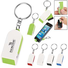 Custom Phone Stand Screen Cleaner Combo Keychain