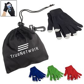 Promotional Touch Screen Gloves In Pouch