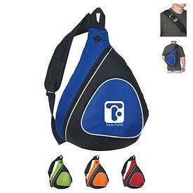 Promotional Sling Two-Tone Backpack With Black Trim