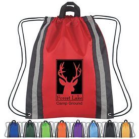 Promotional Large Reflective Hit Sports Drawstring Backpack