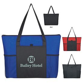 Promotional Non-Woven Voyager Zippered Tote Bag