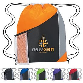 Promotional Tri-Color Sports Drawstring Backpack