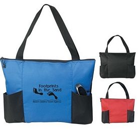 Promotional Double Pocket Zippered Tote Bag