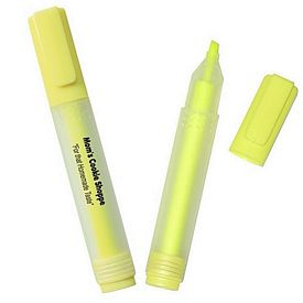 Promotional Rectangular Highlighter With Frosted Barrel Yellow Chisel Tip