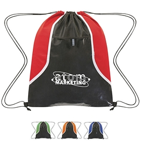 Promotional Non-Woven Clear Pocket Drawstring Sports Pack