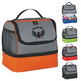 customized two compartment lunch pail bag