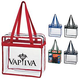 Promotional Zippered Clear Stadium Box Tote Bag