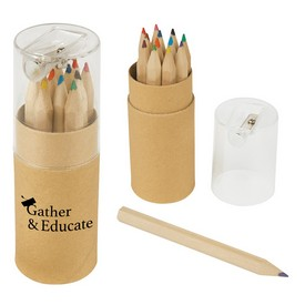 Promotional 12-Piece Colored Pencils Tube With Sharpener