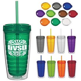 Promotional 16 Oz Econo Double Wall Straw Tumbler