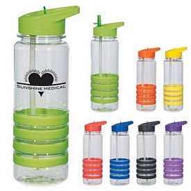Customized 24 Oz Banded Gripper Bottle With Straw