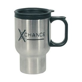 Promotional 16 Oz Stainless Steel Travel Mug With Sip-Thru Lid Plastic Inner Liner
