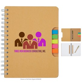Promotional Eco Spiral Notebook With Pen And Sticky Flags