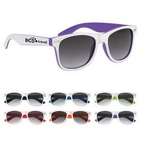 Promotional Two-Tone White Malibu Sunglasses