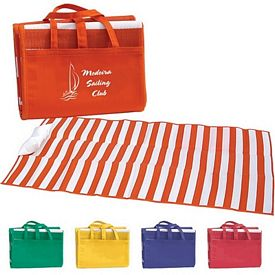Promotional Striped Beach Mat Tote Bag With Pillow