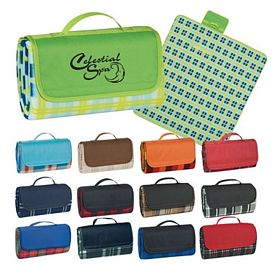 Promotional Plaid Roll-Up Carry Picnic Blanket