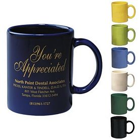 Promotional 11 Oz Colored Stoneware Mug With C-Handle