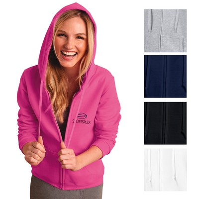 Promotional Gildan 8 Oz Poly Cotton Ladies Full Zip Hooded Sweatshirt
