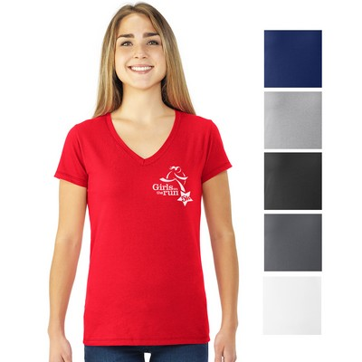 Customized Fruit Of The Loom Sofspun Junior Ladies V-Neck T-Shirt