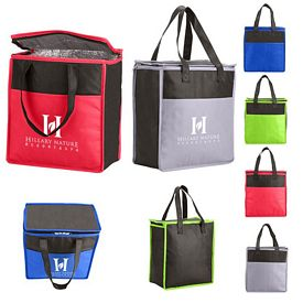 Customized Two Tone Flat Top Insulated Non Woven Grocery Tote