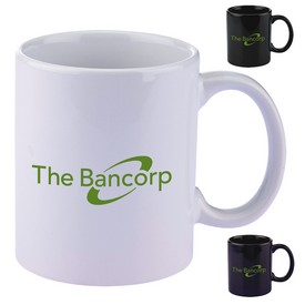 Promotional 11 Oz Colored Basic C Handle Ceramic Mug