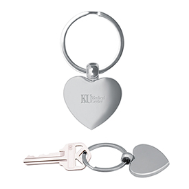 Custom Brushed Chrome Heart Metal Key Chain
