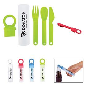 Promotional Plastic Utensil Set With Bottle Opener