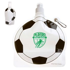 Custom Hydropouch 24 Oz Soccer Ball Collapsible Water Bottle