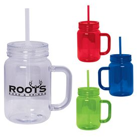 Promotional 20 Oz Plastic Mason Jar