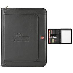 Customized Wenger Exec Leather Zippered Padfolio Pen Bundle Set