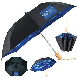 Promotional Stromberg 46 Blue Skies Auto Folding Umbrella